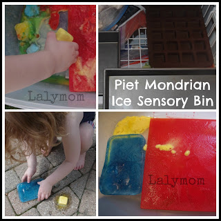 Mondrian for kids Ice Sensory Bin