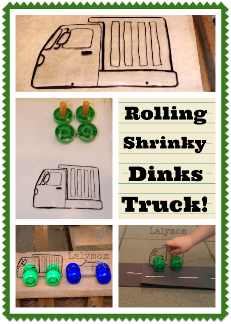 Tutorial for Shrinky Dinks Rolling Truck and Car Toys from Lalymom