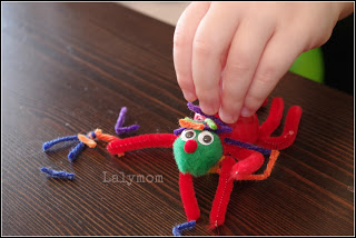 Fine Motor Fun Using a Pouch Cap Craft Spider from Lalymom