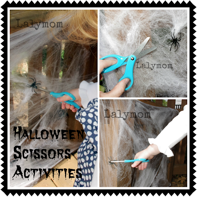 Cutting Spiderwebs for Fine Motor Practice for Preschoolers from Lalymom
