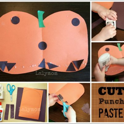 Halloween Pumpkin Art Project and 6 other Fall themed Cut Punch Paste ideas for Kids. So easy and fun!