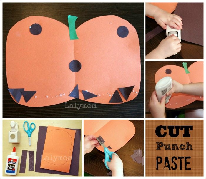 Easy Pumpkin Jack-o-lantern crafts for kids using construction paper, scissors and optional paper punches