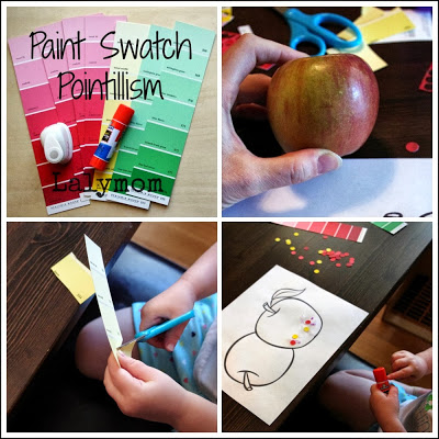 Use Paint Swatches and Paper Punches for Fine Motor Skills and Fine Art for Kids from Lalymom