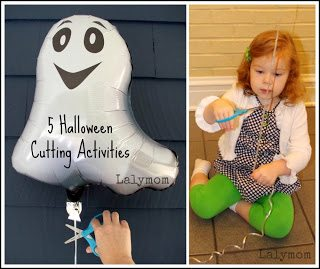 Balloon String Cutting and Other Halloween Scissors Practice Activities from Lalymom