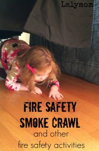 3 Fire Prevention Week Activities on Lalymom.com - Practicing crawling under smoke- how smart!