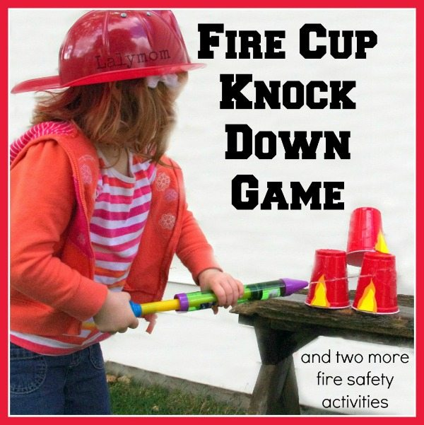 3 Fire Safety for Kids Activities - Fire Cup Knock Down Spray Game from Lalymom.com - My kids love this!