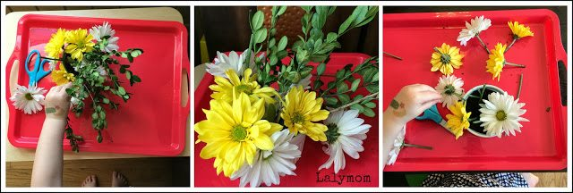Flower Arranging for Kids: Fine Motor Floral Fun from Lalymom #FineMotor
