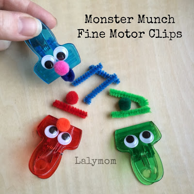 Sesame Street Clips for Fine Motor Fun, Party Favors or Busy Bag from Lalymom