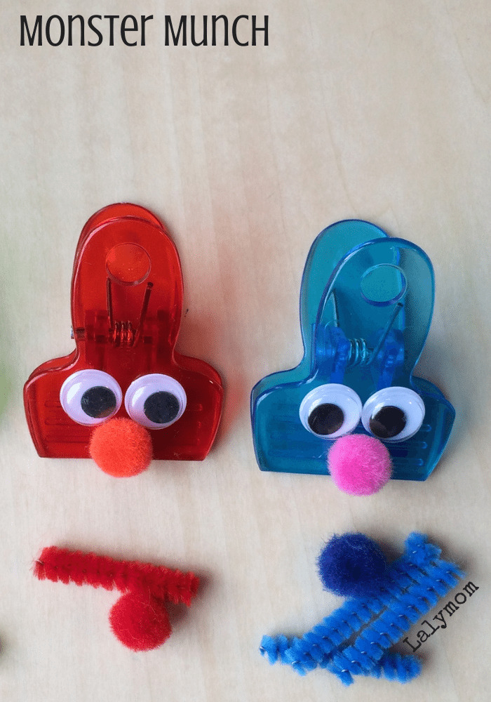 Monster Munch Fine Motor Game and Clips from Lalymom