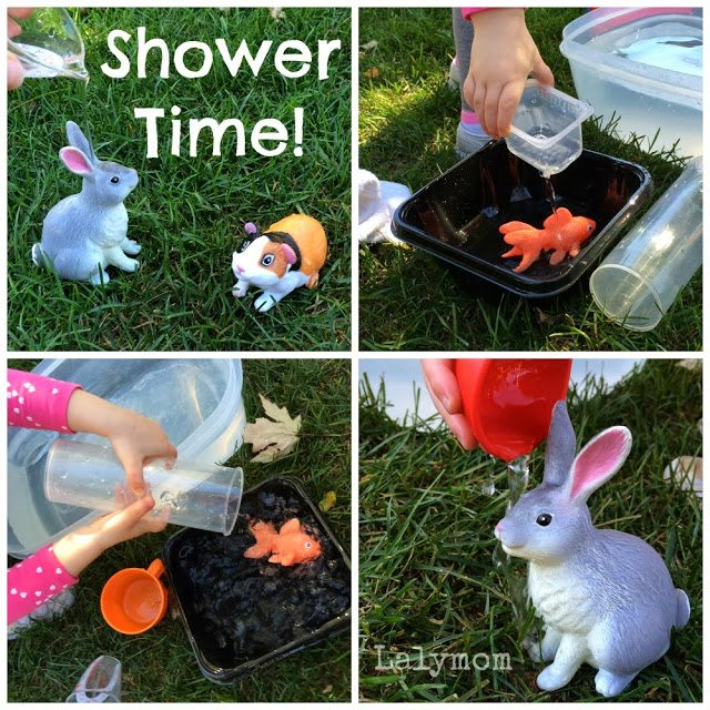 Pouring Practice for Preschoolers with Plastic Animals from Lalymom