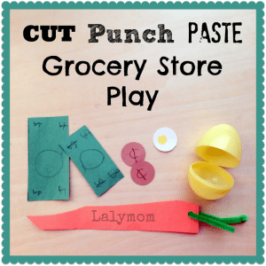 Fine Motor Cut Punch Paste Grocery Store Activity for Preschoolers