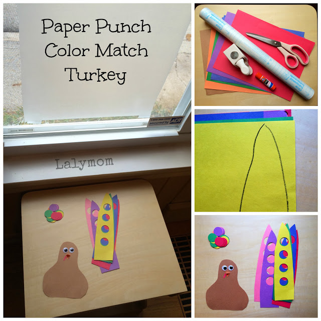 Paper Punch Color Match Turkey Fine Motor Activity for Preschoolers from Lalymom
