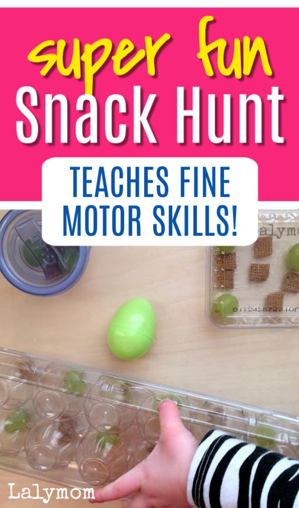 Let's go on a snack hunt! This is a super quick-prep, fine motor activity for snack time fun! #finemotor #finemotorskills #toddler #preschool #kids #funforkids