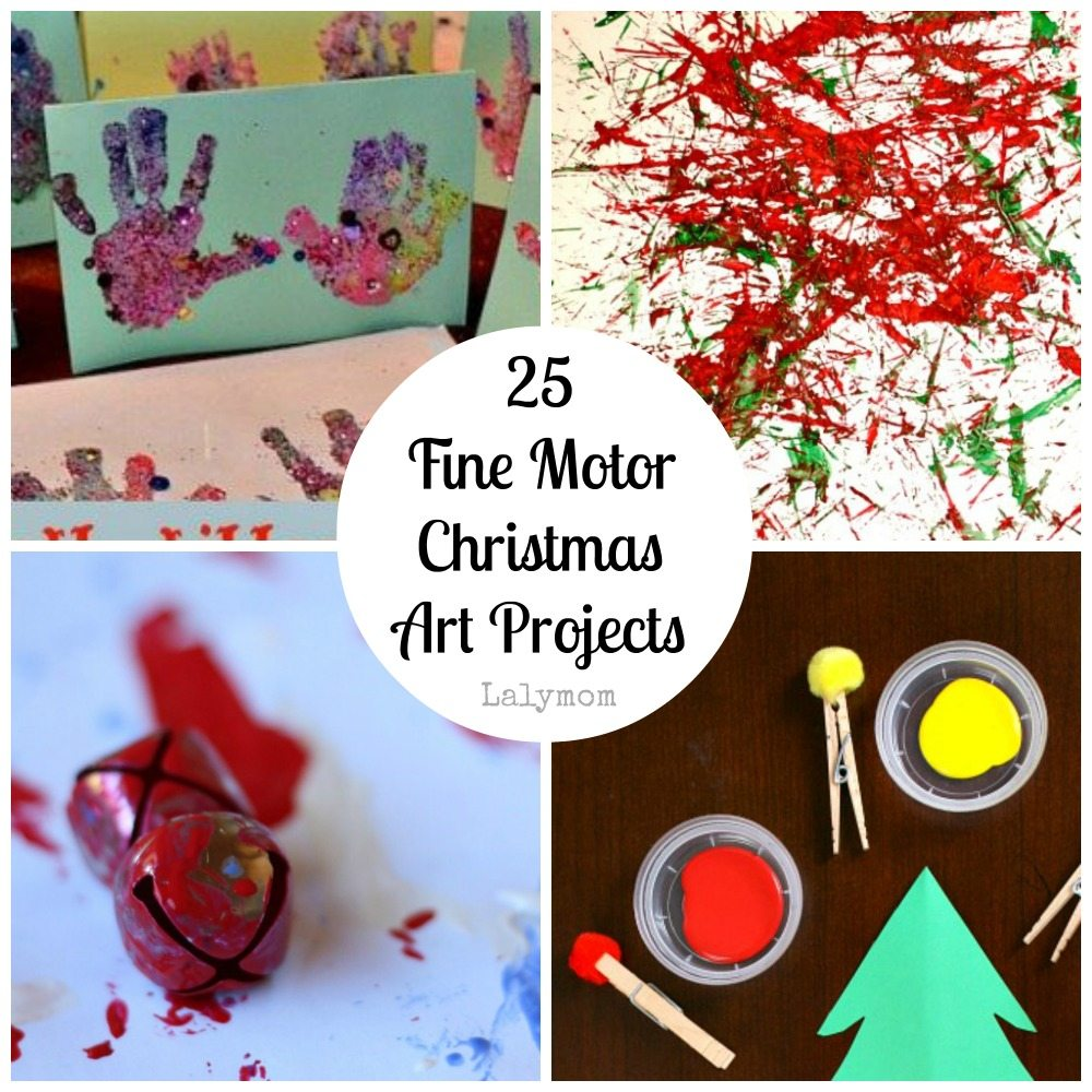 Painting Fine Motor Christmas Art Projects for Kids from Lalymom- Fine Motor Fridays MEGA Roundup #FineMotor #CreativeMamas #PlayMatters #KBNMoms