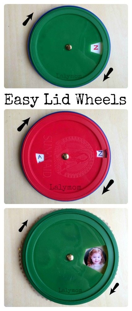 Easy Recycled Craft - Lid Wheels - Alphabet, Secret Decoder and Family Faces with Volvelle tutorial