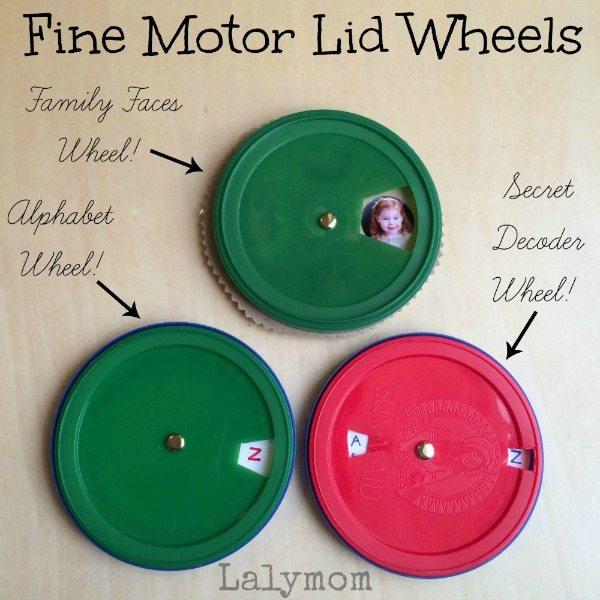 Fine Motor Skills Lid Wheels DIY Toys from Lalymom