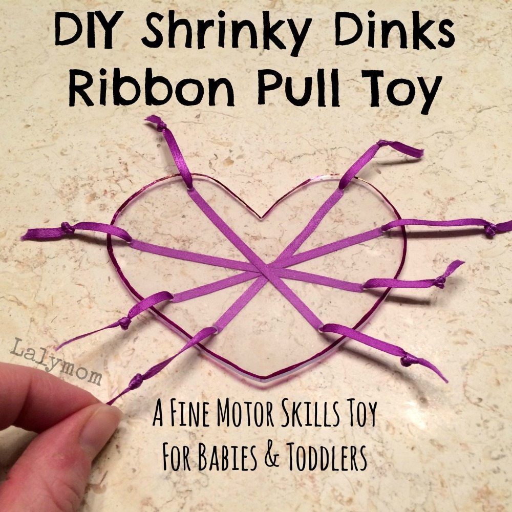 Shrinky Dinks Ribbon Pull DIY Toddler Toy to Develop Fine Motor Skills from Lalymom