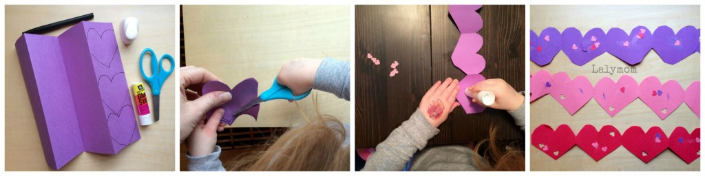 Valentines Day Cutting Practice Garland CUT Punch Paste Art Project from Lalymom