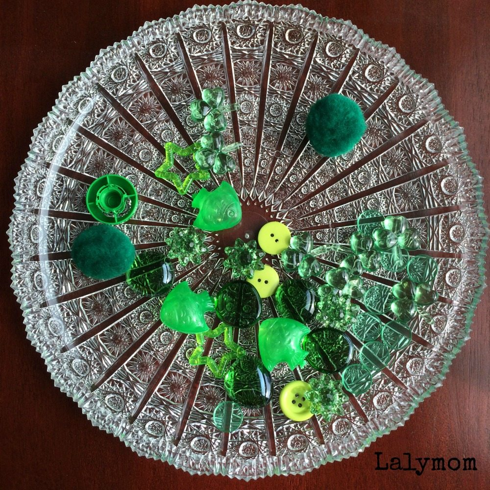 Green Themed Bubble Wrap Window Activity from Lalymom