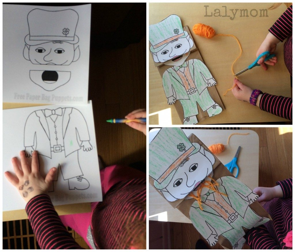 St Patricks Day Craft Fine Motor Skills Using FreePaperBagPuppets Leprechaun Puppet  from Lalymom