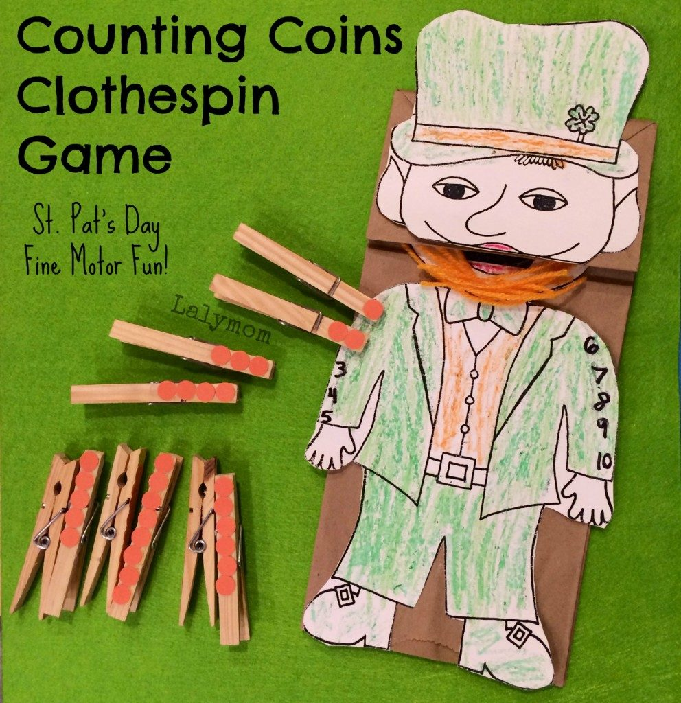 St. Patricks Day Craft for Preschoolers Counting Coins Fine Motor Game from Lalymom