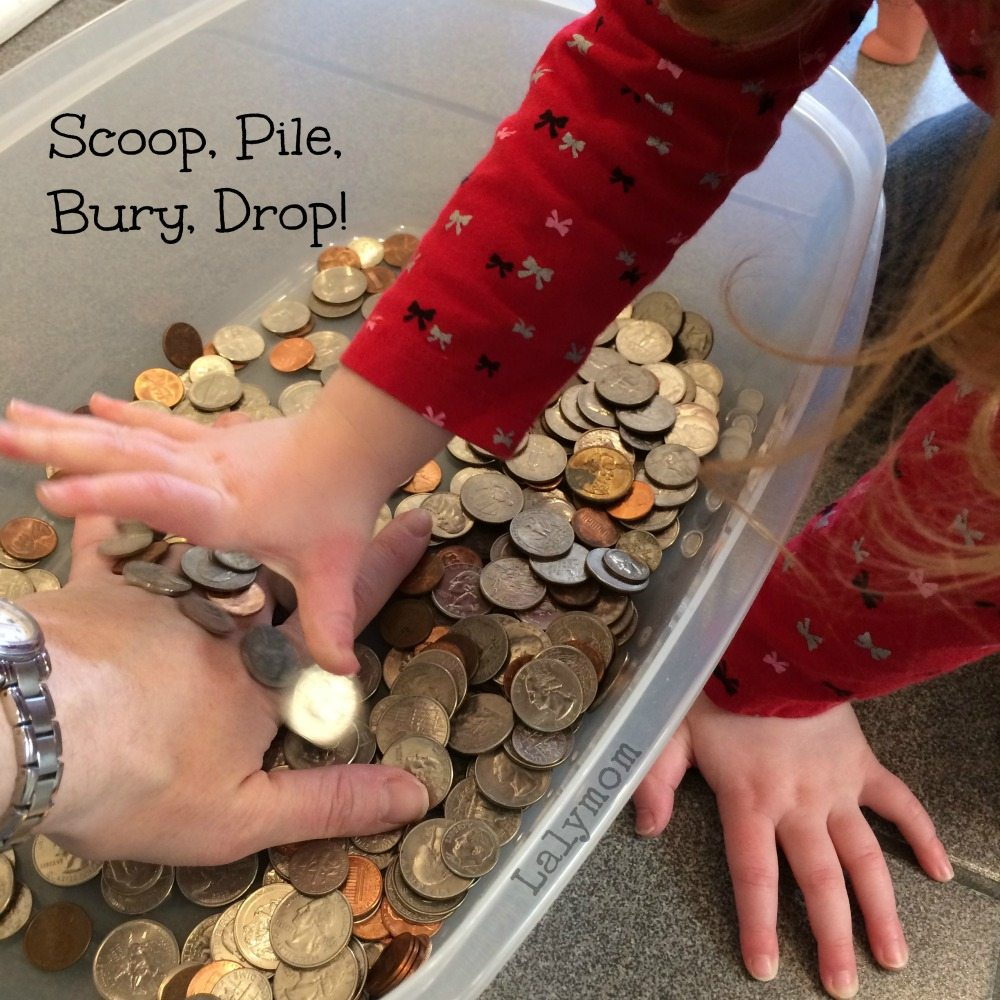 Coin Sensory Bin for Kids from Lalymom
