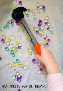 Fine Motor Skills Activity for Kids Using a Hammer and Water Beads from Lalymom