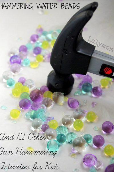 Hammering Water Beads Fine Motor Activities for Preschoolers