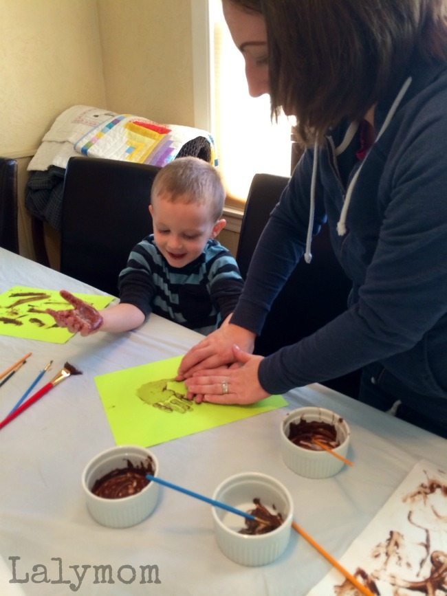 Handprint Paintings Made with Chocolate Edible Paint from Lalymom