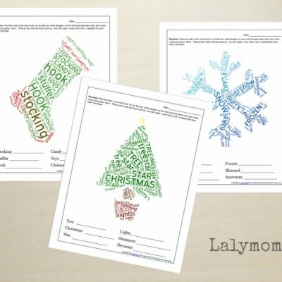 Christmas Word Clouds - Stocking, Christmas Tree, Snowflake and Gingerbread man. Perfect word search with Christmas themed vocabulary. Fun activity for kids!