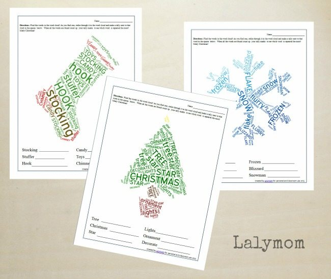 photograph relating to Free Printable Holiday Worksheets referred to as No cost Printable Xmas Worksheets - Getaway Term Clouds