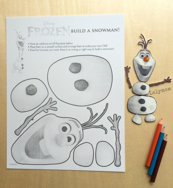photo about Free Olaf Printable named Frozen Olaf Craft: Jointed Olaf Determine - LalyMom