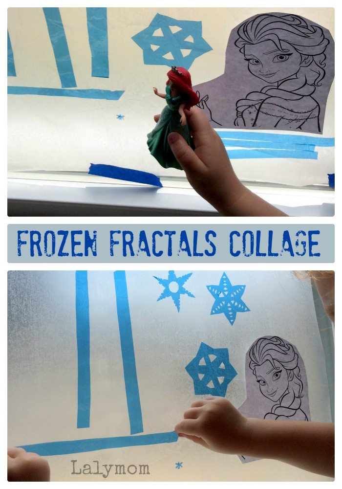 Disney Frozen Art Project for Kids. Frozen Fractals Fine Motor Skills Sticky Collage from Lalymom