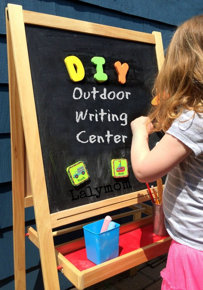 Preschooler Writing Activities for Kindergarten Readiness - Outdoor Writing Center and Activities from Lalymom