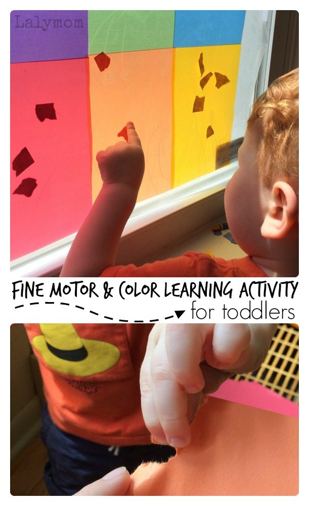 Simple Fine Motor Skills and Color Learning Activity for Toddlers on Lalymom.com, Part of Fine Motor Fridays