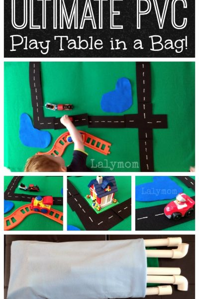 The ULTIMATE DIY PVC Play Table that folds up in a bag! Perfect for LEGO, Train Sets, Cars, Farm and Zoo play and more! From Lalymom
