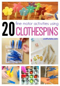 20 Fine Motor Activities Using Clothespins on Lalymom.com. Everything from super simple busy bags to letter learning, math, colors and more- all using one super fine motor tool Clothespins!