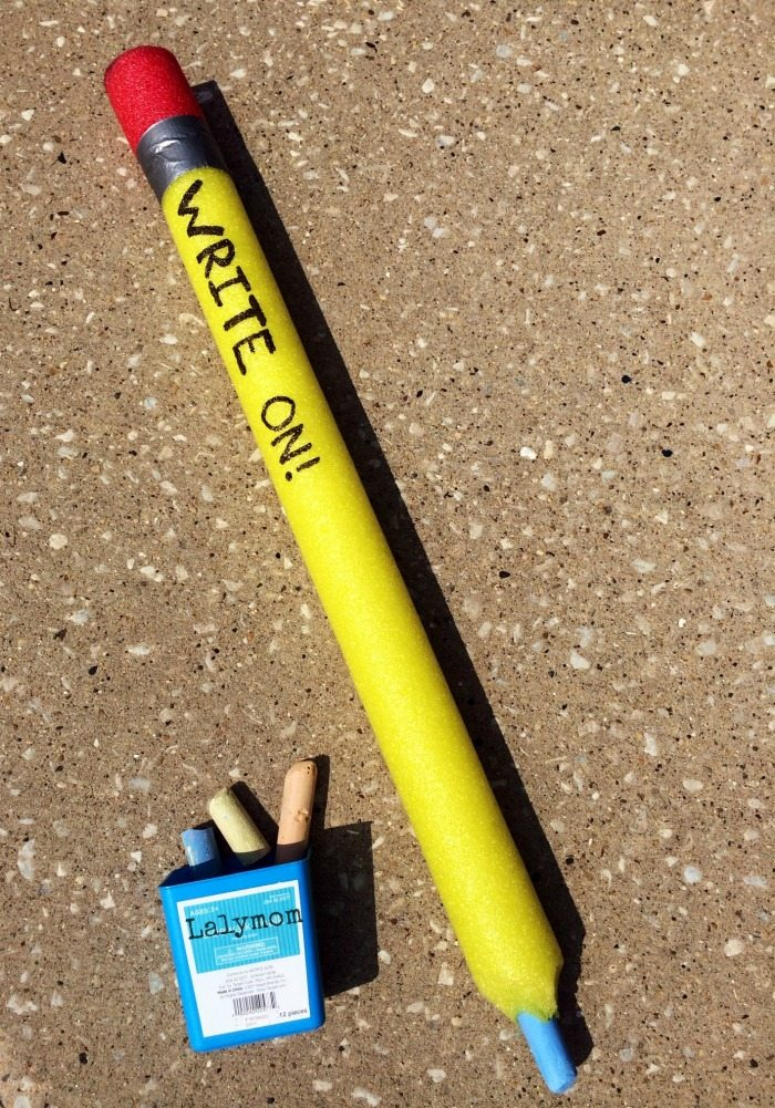Back to School Craft - Make a Pool Noodle Pencil for your Back to School Bash or a Funny Teacher Gift on Lalymom.com