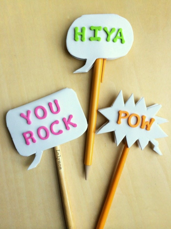 Conversation Bubble Pencils Toppers on Lalymom.com!  A great back to school craft or party favor!