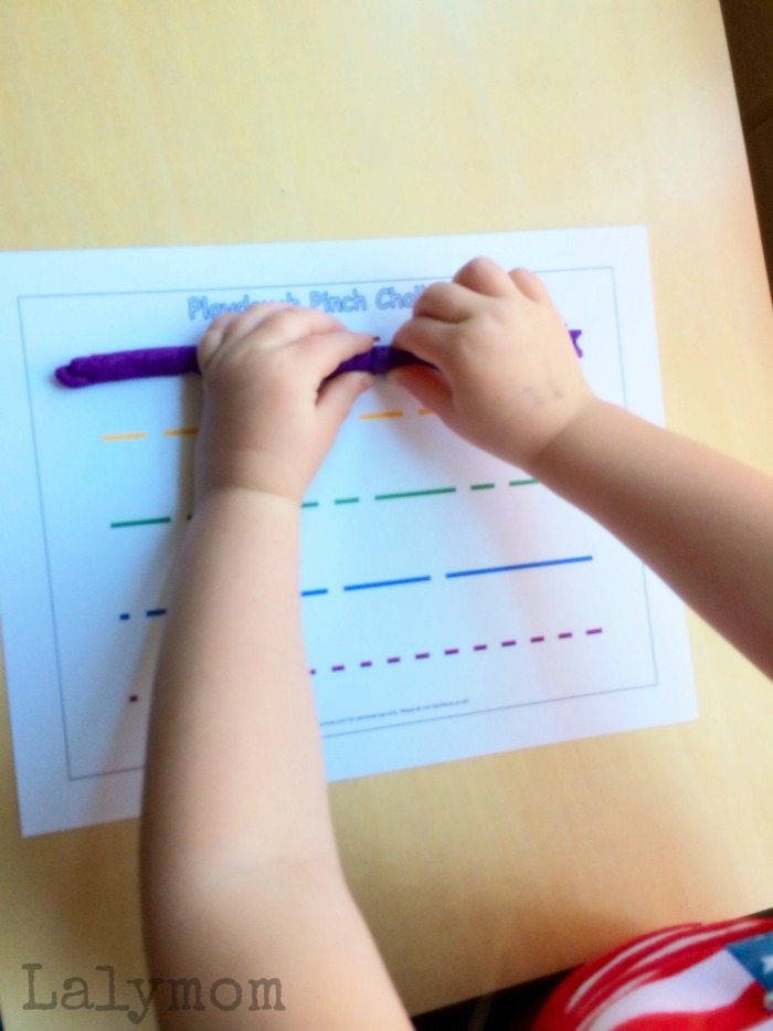 Fine Motor Activities for Pinch Strength - Play Dough Pinch Challenge with Free Printables from Lalymom.com