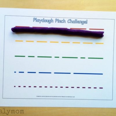Printable Play Dough Mats to Encourage Pinch Strength - Play Dough Pinch Challenge on Fine Motor Fridays at Lalymom.com