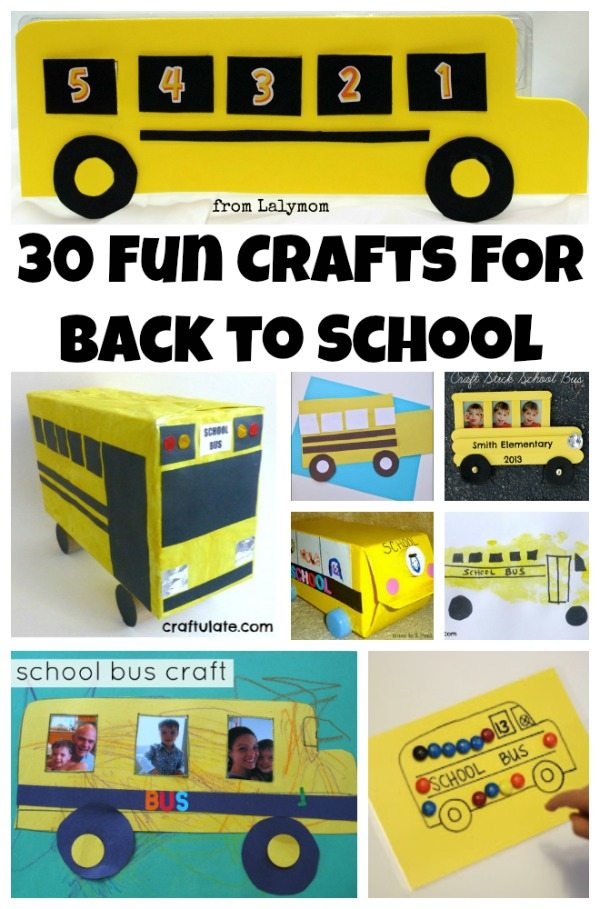 30 School Bus Apple and Pencil Back to School Crafts on Lalymom.com