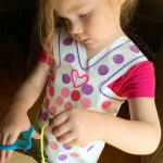 Contact Paper Dress Preschool Fine Motor Skills Activity on Lalymom.com #earlyed #finemotor #KBN