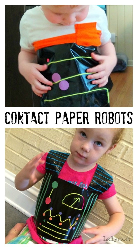 Contact Paper Robots Fine Motor Skills Activity for Preschoolers on Lalymom.com #ActivitiesForKids #KBN
