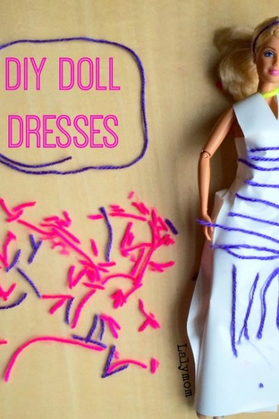 DIY Doll Dresses - Use contact paper and other craft materials to design your own dresses for Barbie and other dolls! SO much fun!