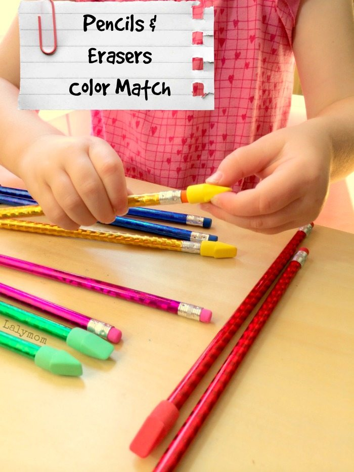 Pencils + Erasers Color Match - A Super Simple 2 Ingredient Fine Motor Skills Activity from Lalymom.com