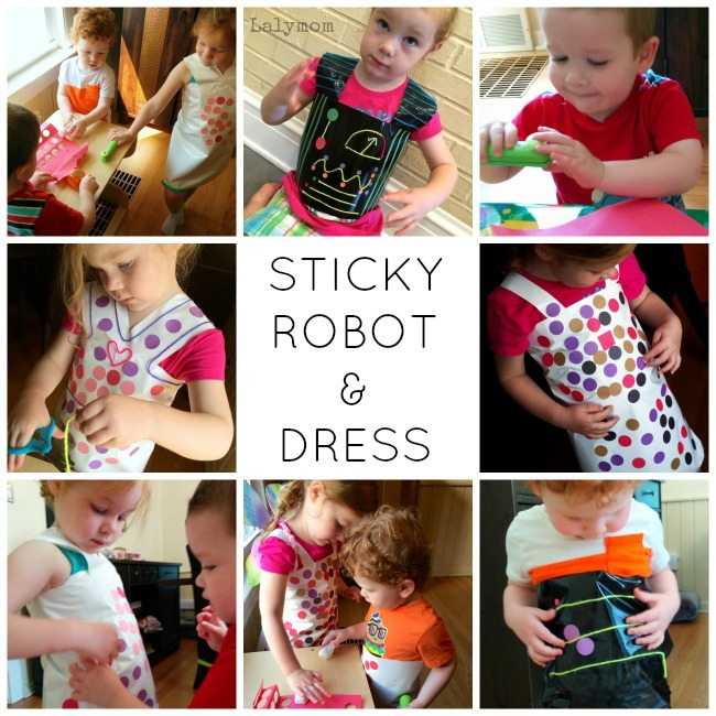Sticky Robot & Dress Fine Motor Skills Activities for Toddlers and Preschoolers on Lalymom.com #EarlyEd #CreativeMamas #FineMotor