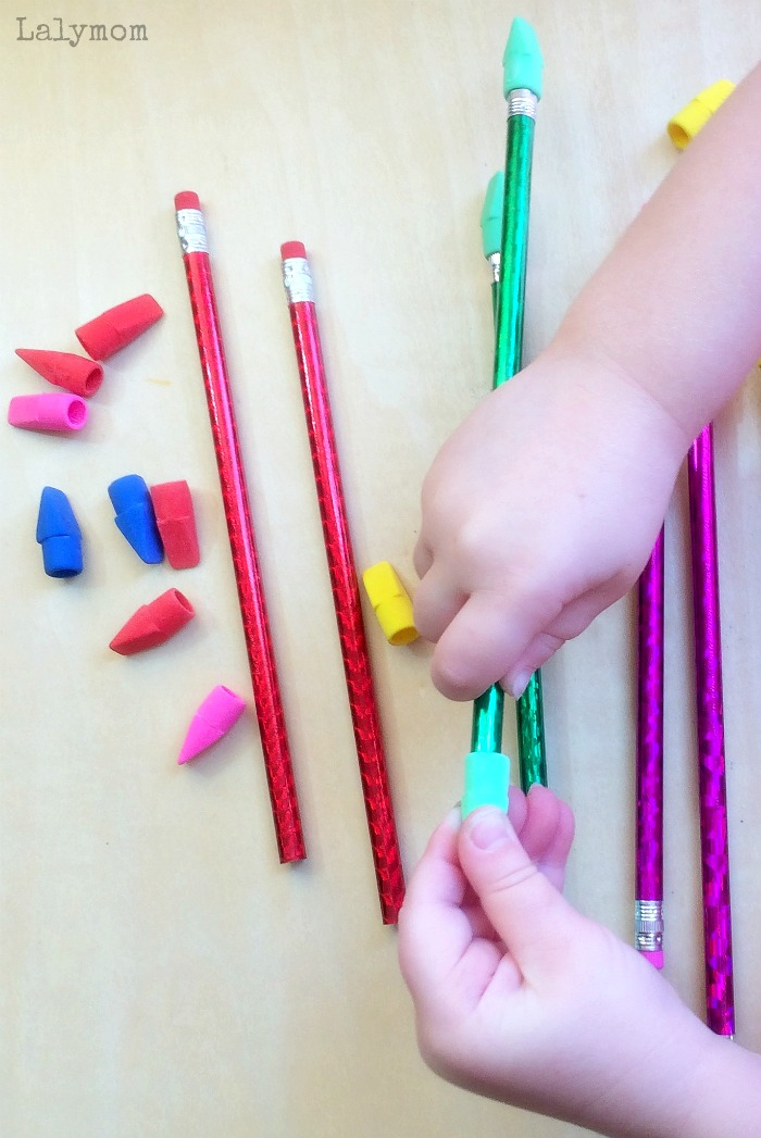 Super Simple Fine Motor Skills Activity - Pencils + Erasers Color Match. Great for preschoolers or older toddlers. Makes a perfect busy bag! Found on Lalymom.com