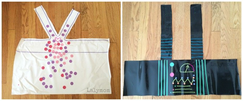 Tutorial for contact paper dresses and robots for fine motor skills fun on Lalymom.com