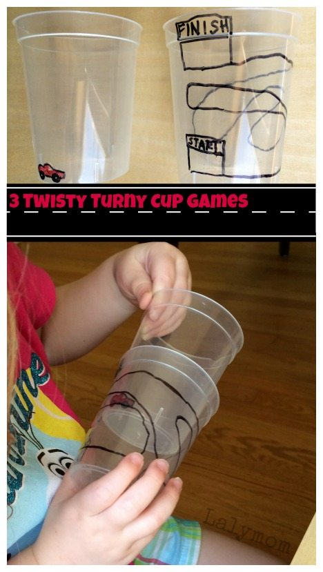 3 Simple but Fun Cup Twisting Games on Lalymom.com - How cool! What a fun way to work on fine motor skills and bilateral coordination!